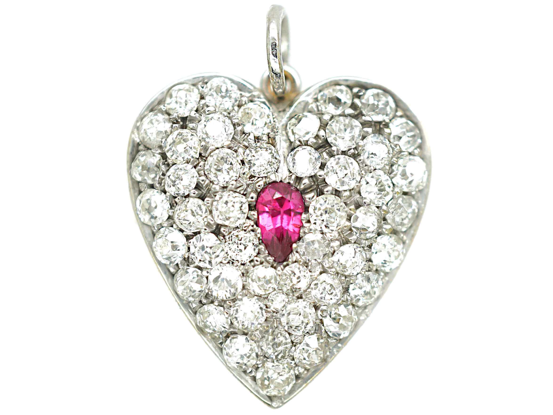 Edwardian 18ct white Gold Ruby & Diamond Heart Shaped Pendant