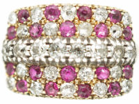 Victorian 18ct Gold Chequerboard Ring set with Rubies & Diamonds