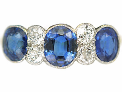 Art Deco 18ct Gold & Platinum, Three Stone Sapphire & Diamond Ring