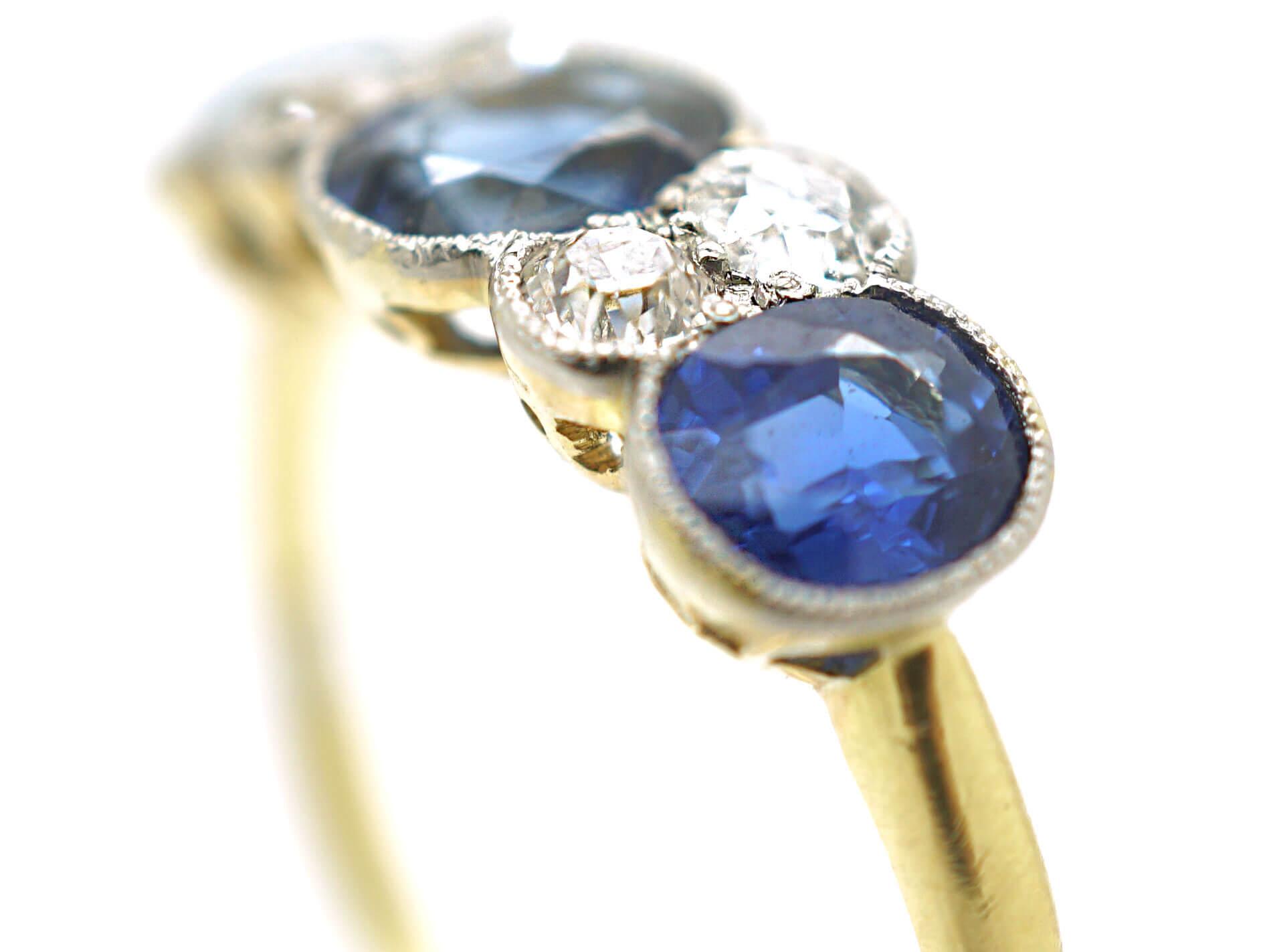 Art Deco 18ct Gold & Platinum, Three Stone Sapphire & Diamond Ring