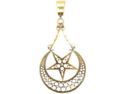 Victorian Large 18ct Gold Star & Crescent Pendant
