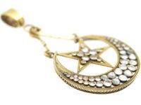 Victorian Large 18ct Gold Star & Crescent Pendant