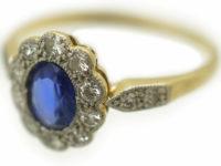 Edwardian Sapphire & Diamond Cluster Ring with Diamond Set Shoulders
