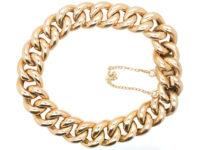 Edwardian 9ct Gold Close Linked Curb Bracelet