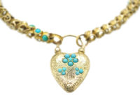 Regency 15ct Gold Bracelet with Forget me Not Heart Shaped Padlock set with Turquoise
