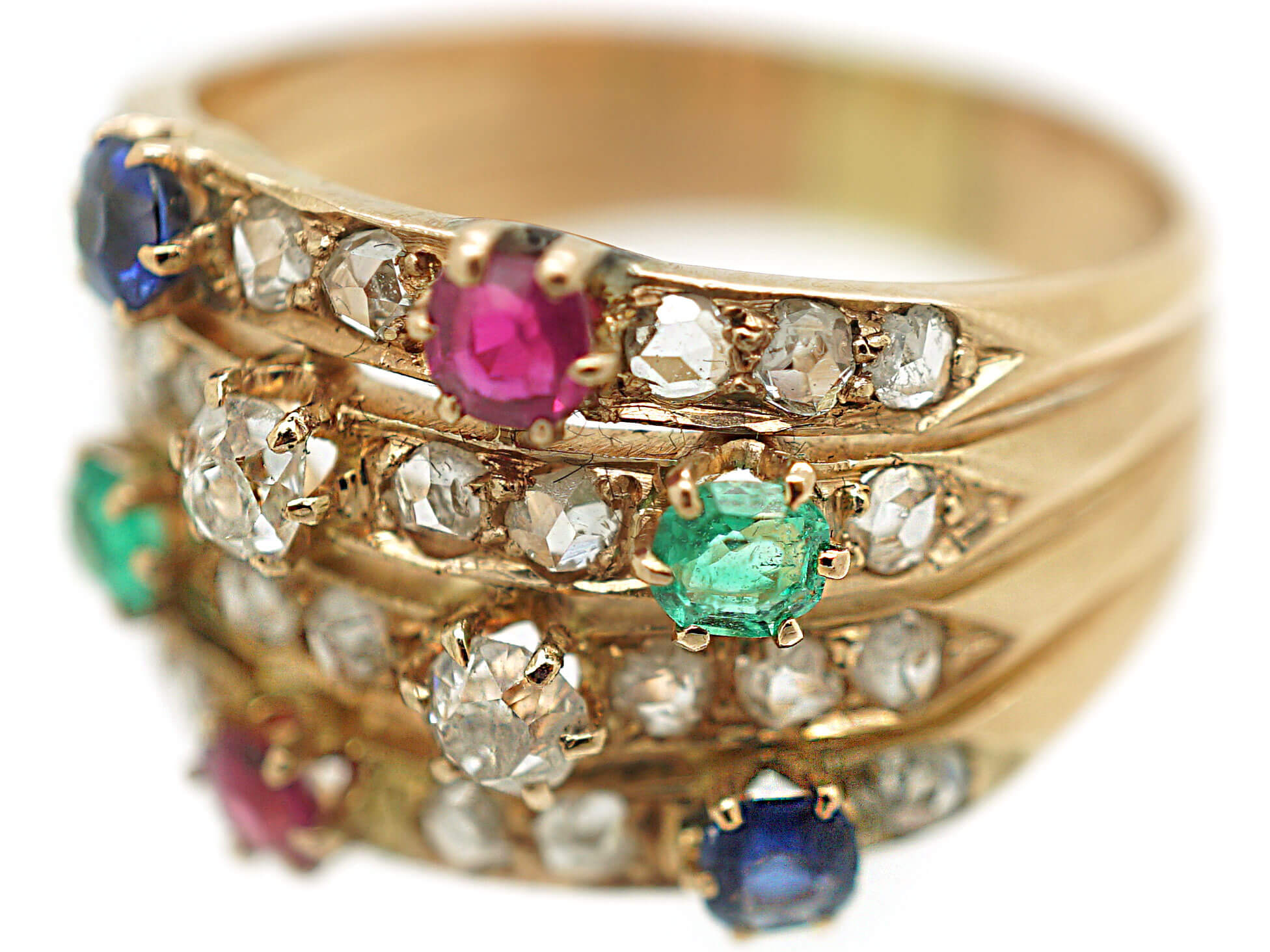14ct Gold Harem Ring set with Rubies, Sapphires, Emeralds & Diamonds