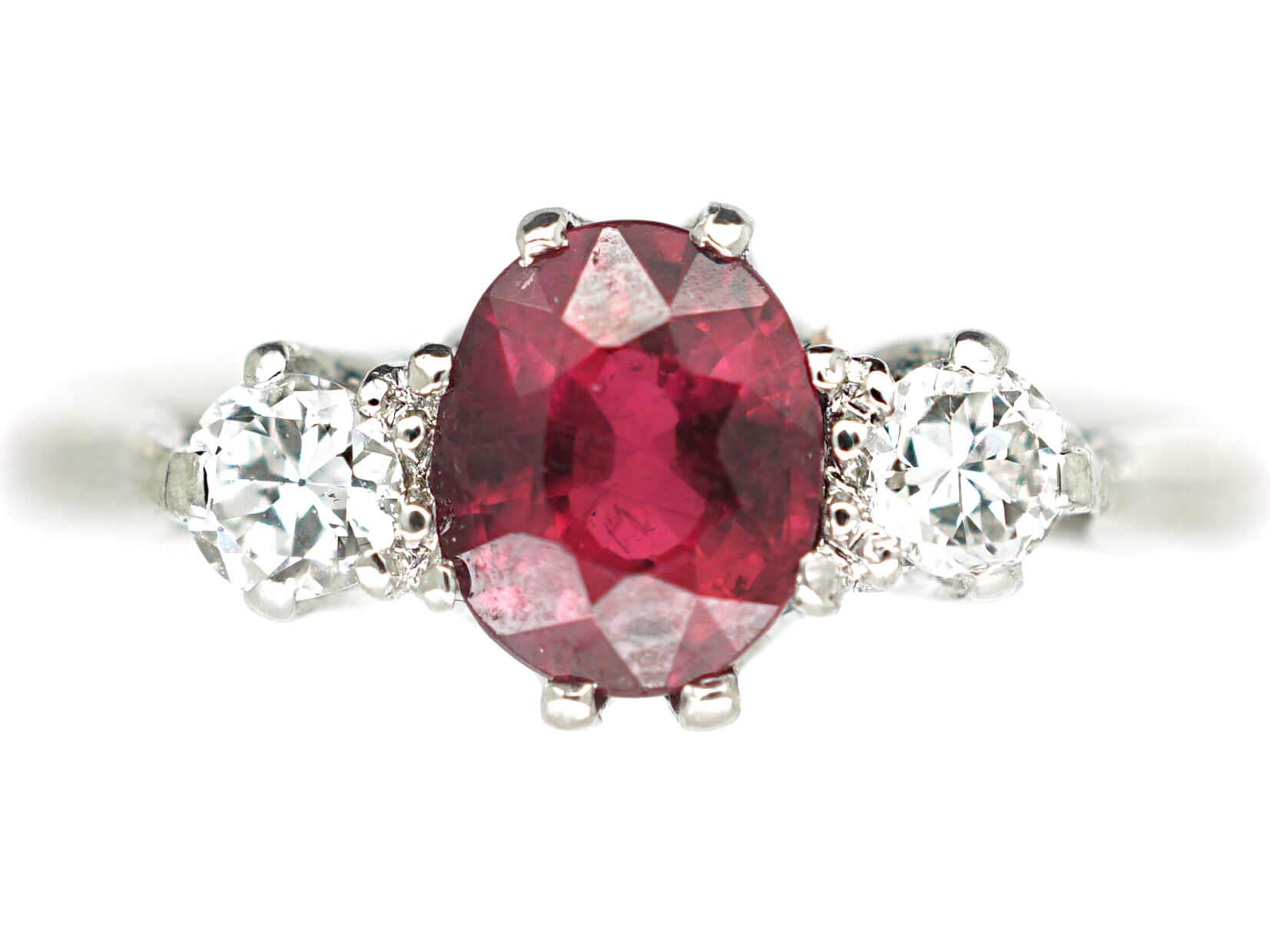 Art Deco Platinum Three Stone Ruby & Diamond Ring