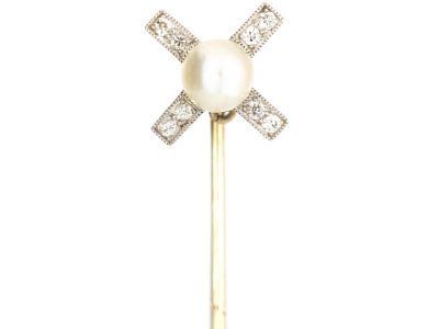 Art Deco 15ct Gold & Platinum Windmill Style Tie Pin set with Diamonds & a Natural Pearl