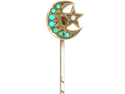 Edwardian 9ct Gold Moon & Star Tie Pin set with Turquoise & a Natural Split Pearl