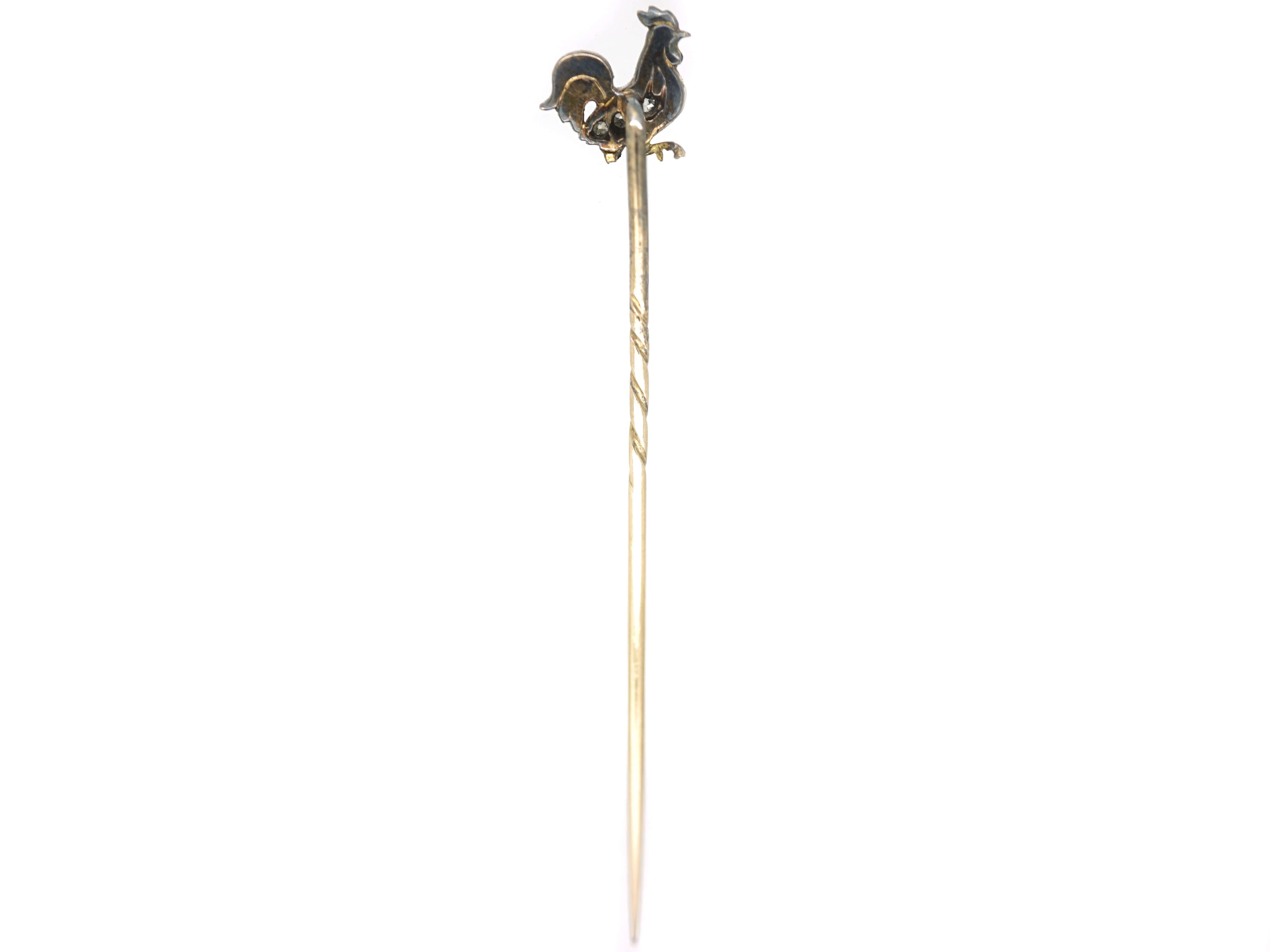 Edwardian Diamond & Enamel Cockerel Tie Pin with Ruby eye