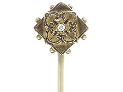 Edwardian 9ct Gold Diamond Shaped Tie Pin set with a Diamond