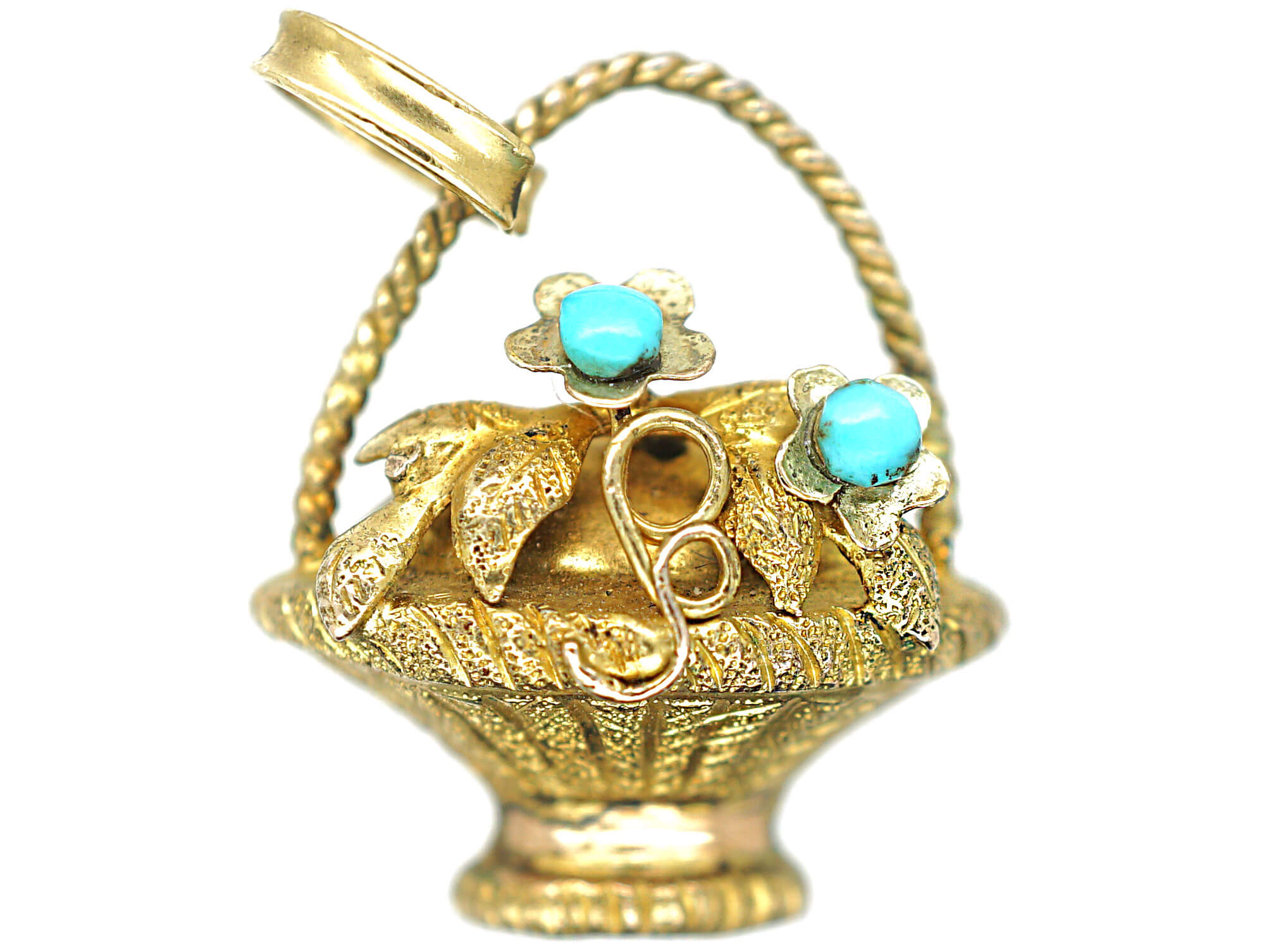 Georgian 15ct Gold Basket Charm set with Turquoise