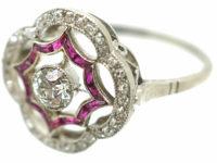 Art Deco Platinum, Ruby & Diamond Open Cluster Ring