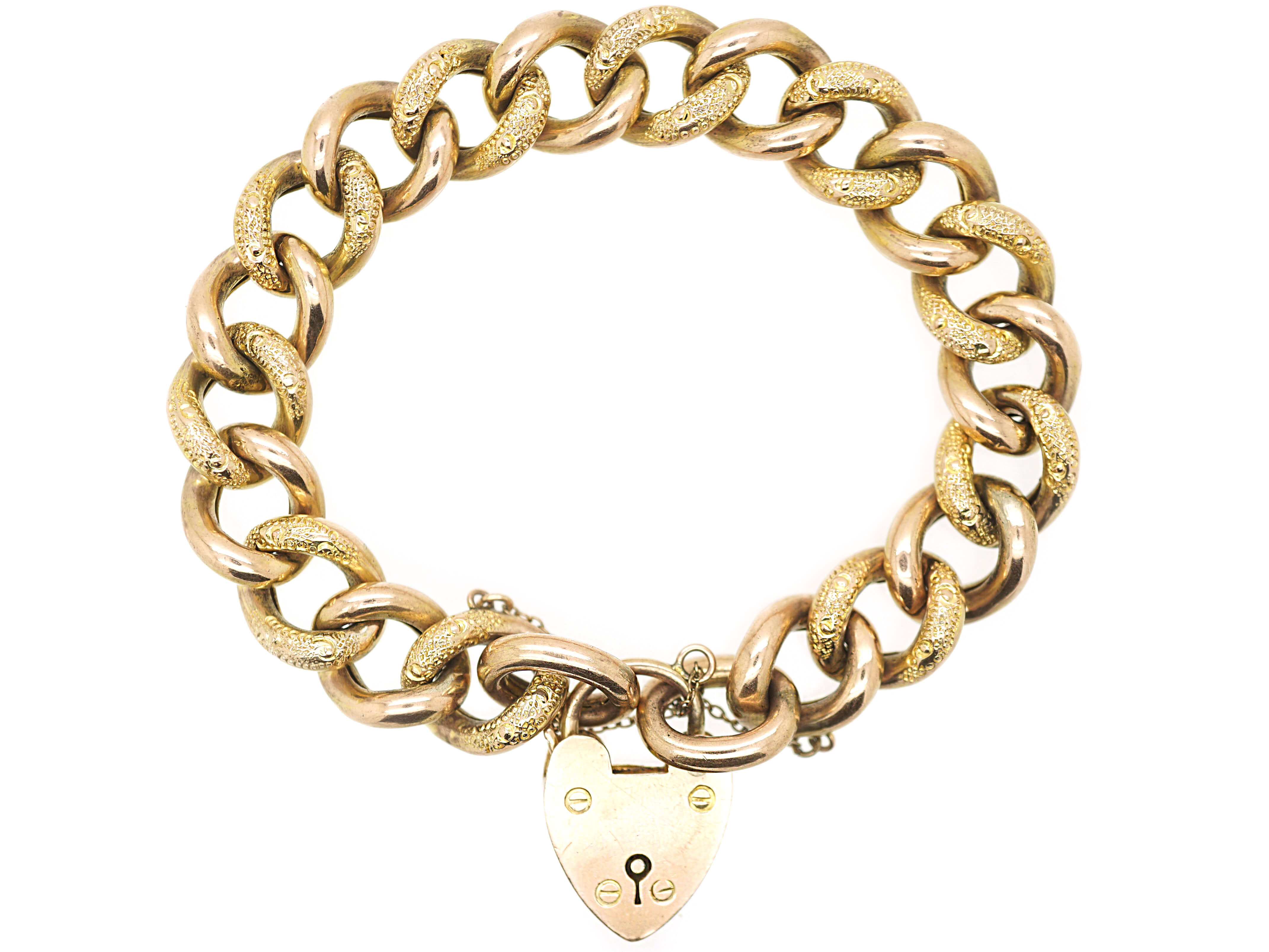 Edwardian 9ct Gold Alternate Plain & Decorated Link Curb Bracelet