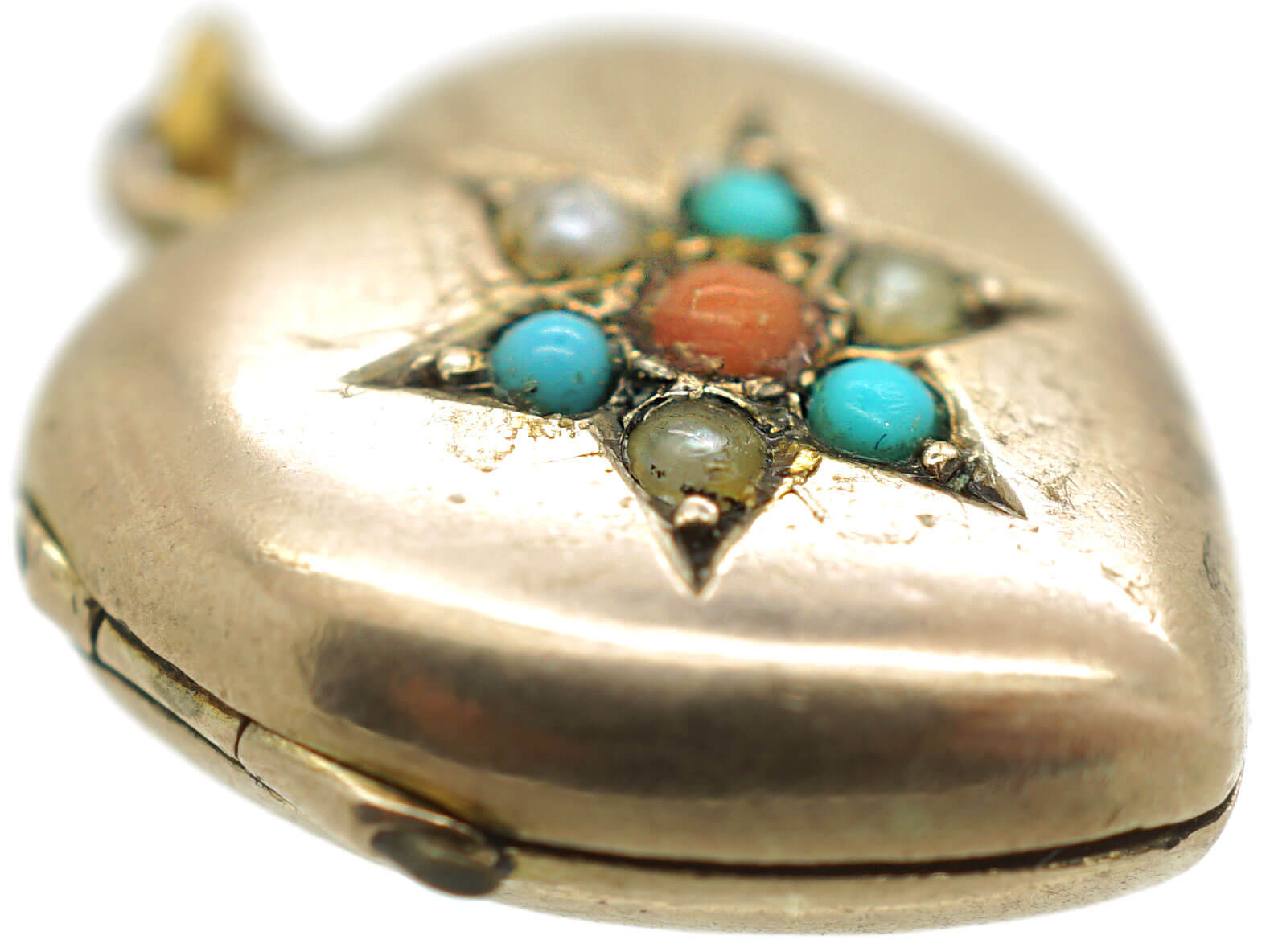 Edwardian 9ct Gold Back & Front Locket set with Coral, Turquoise & Natural Split Pearls