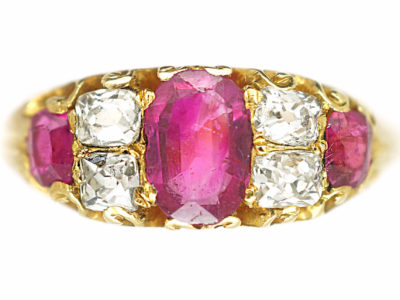 Victorian 18ct Gold Three Stone Ruby & Diamond Ring