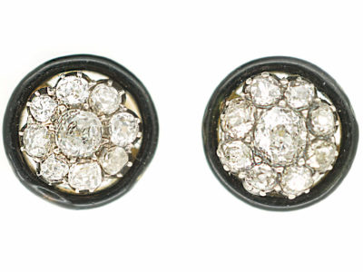 Art Deco Black Enamel & Diamond Cluster Earrings