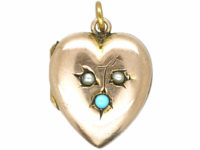 Edwardian 9ct Gold Back & Front Heart Shaped Locket set with Turquoise & Natural Split Pearls