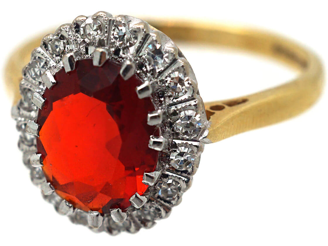 18ct Gold Fire Opal & Diamond Oval Cluster Ring