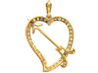 Edwardian 18ct Gold & Platinum & Diamond Heart & Arrow Pendant