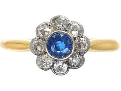Edwardian 18ct Gold & Platinum Sapphire & Diamond Cluster Ring