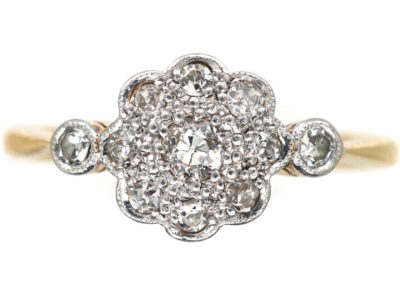 Edwardian 18ct Gold & Platinum Diamond Cluster Ring with Diamond Set Shoulders