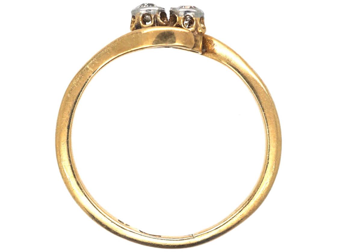 Edwardian 18ct Gold & Platinum Two Stone Diamond Twist Ring