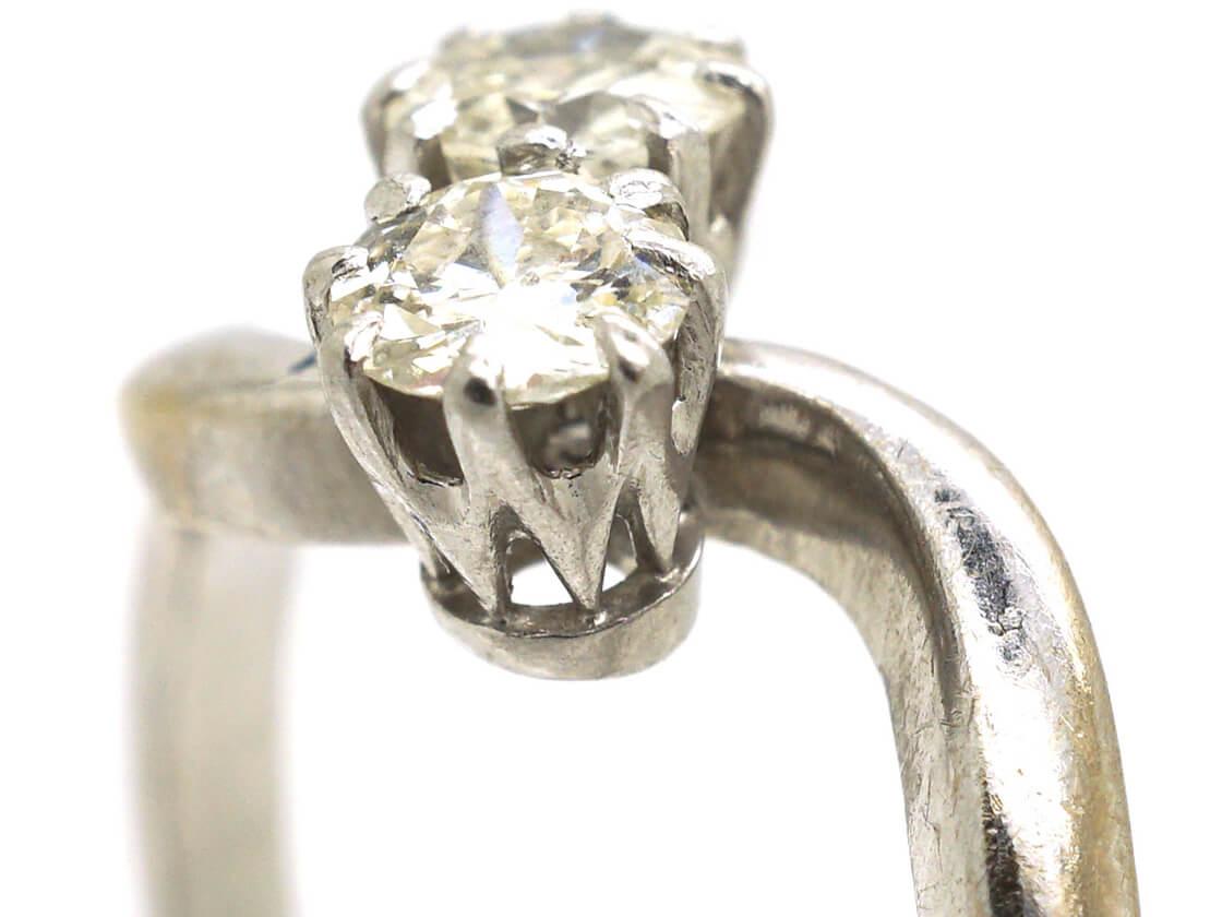 Edwardian 18ct White Gold & Platinum Two Diamond Twist Ring