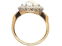 Edwardian 18ct Gold, Cabochon Moonstone & Diamond Cluster Ring with Diamond Set Shoulders