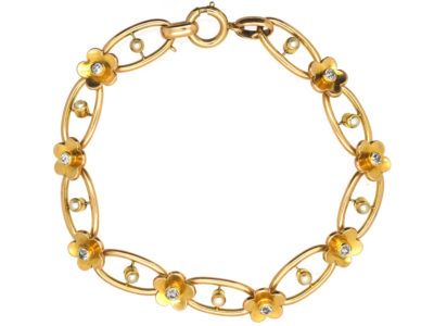 Edwardian 18ct Gold, Diamond & Natural Split Pearl Bracelet