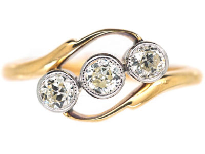 Edwardian 18ct Gold & Platinum Three Stone Diamond Twist Ring
