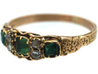Regency 15ct Gold Three Stone Emerald & Rose Diamond Ring