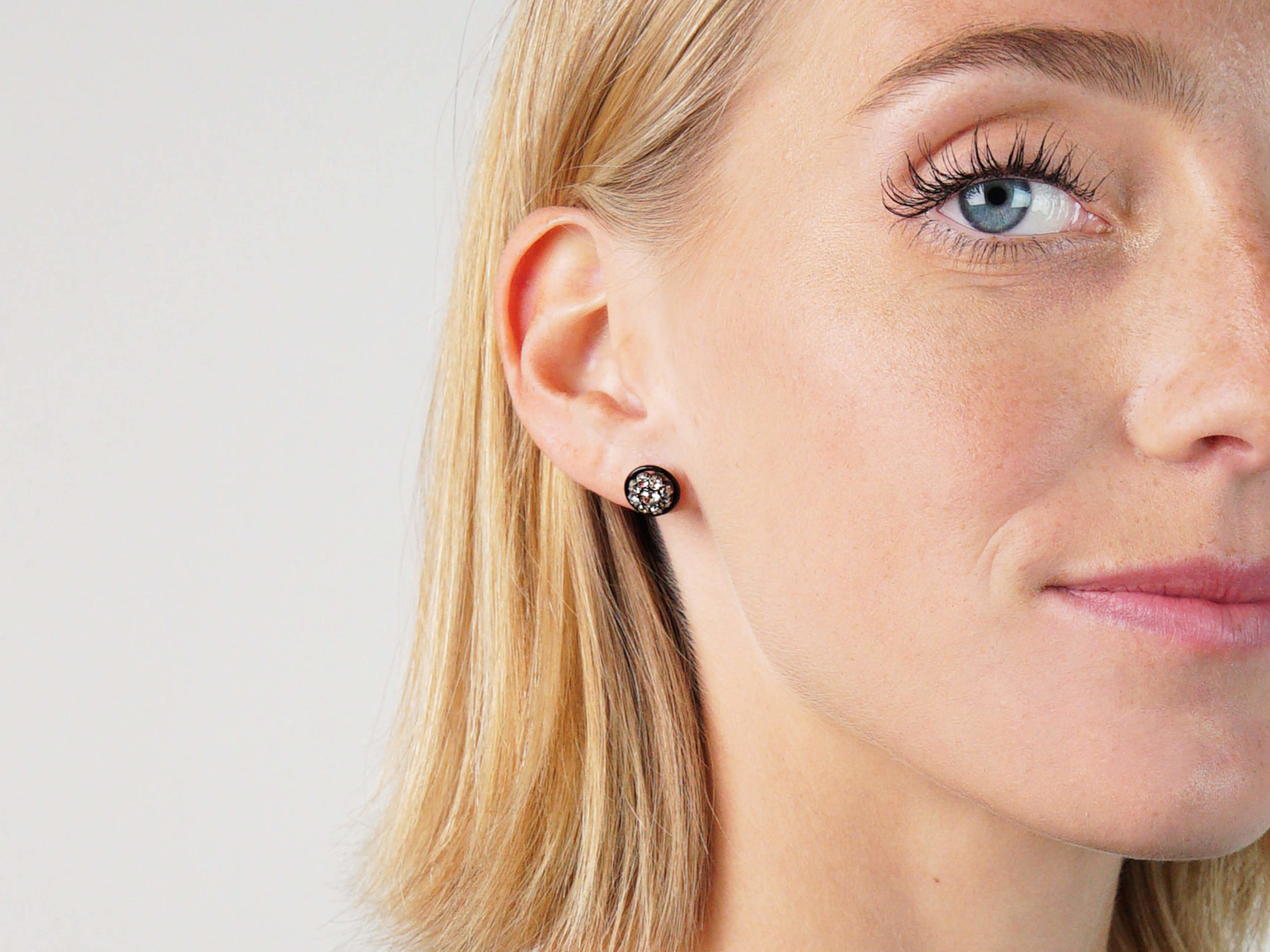 Art Deco Black Enamel & Diamond Cluster Earrings
