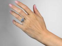 Art Deco Platinum Sapphire & Diamond Cluster Ring