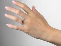 Victorian 18ct Gold Three Stone Ruby & Diamond Ring