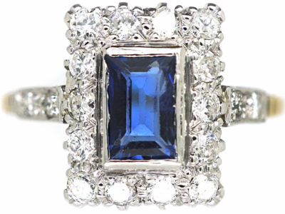 Art Deco 18ct & Platinum, Sapphire & Diamond Rectangular Ring with Diamond Set Shoulders