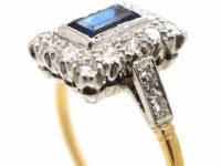 Art Deco 18ct & Platinum, Sapphire & Diamond Rectangular Ring with Diamond Set Shoulders