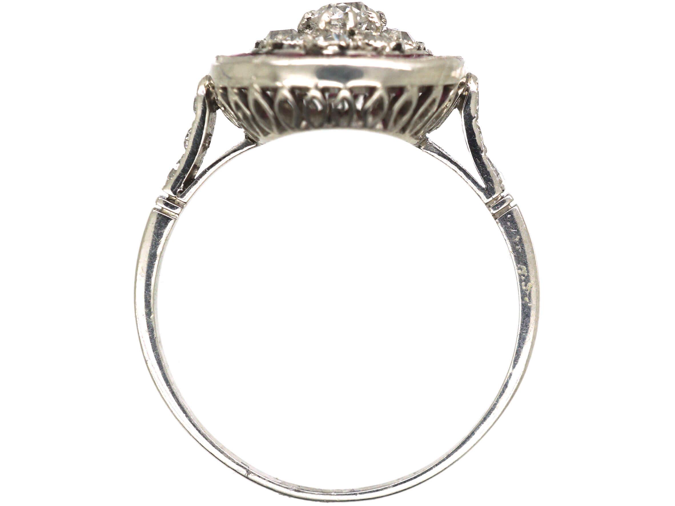 Art Deco Platinum, Ruby & Diamond Target Ring