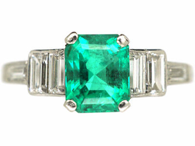 Art Deco Platinum, Emerald & Baguette Diamond Ring
