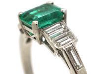 Art Deco Platinum, Emerald & Baguette Diamond Ring