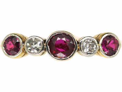Edwardian 18ct Gold & Platinum Five Stone Ruby & Diamond Ring