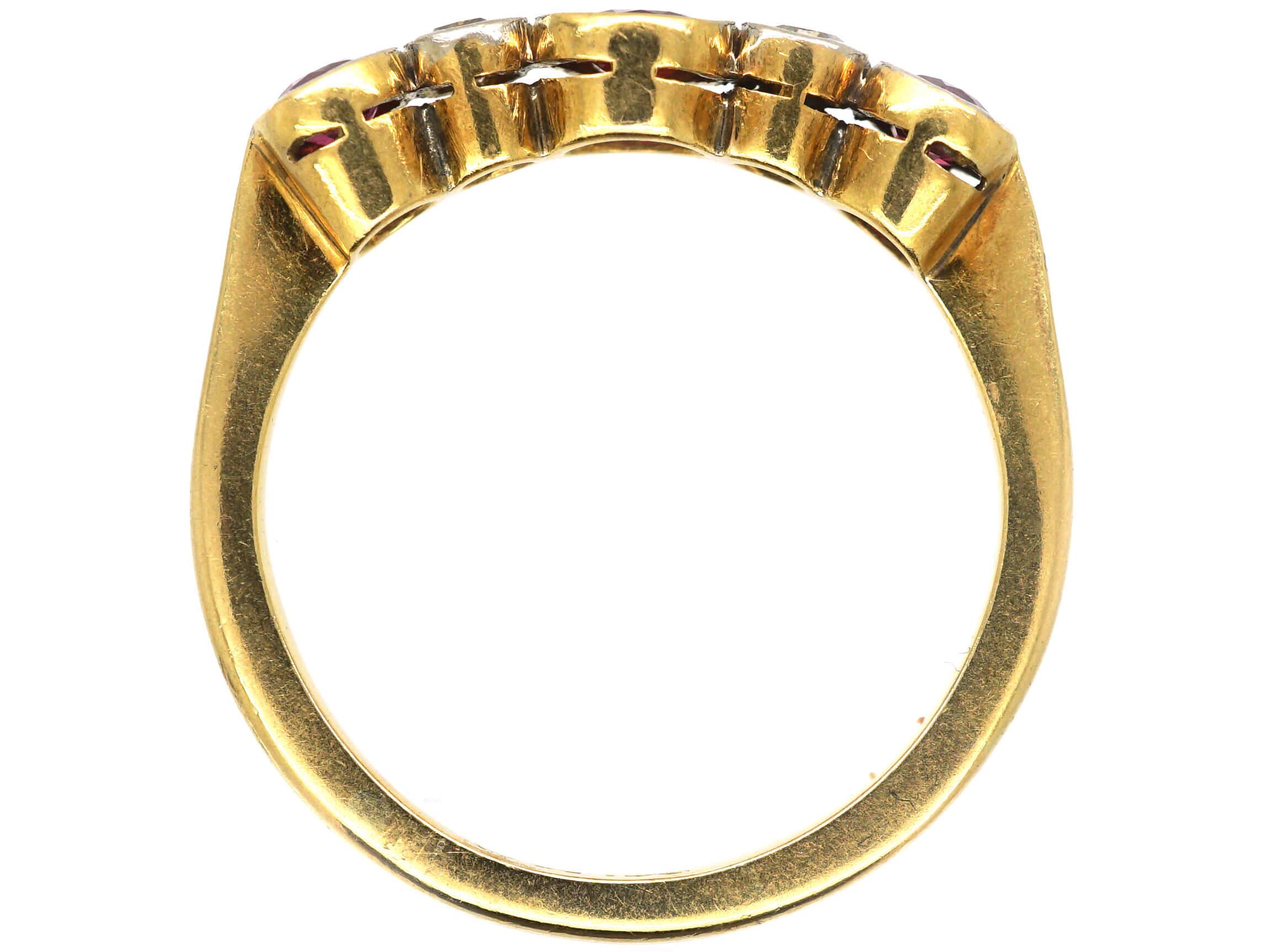 Edwardian 18ct Gold & Platinum Five Stone Ruby & Diamond Ring