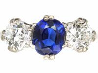 18ct White Gold & Platinum, Three Stone Sapphire & Diamond Ring