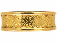 22ct Gold Wedding Band with Hearts Motif