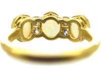 Edwardian 18ct Gold, Three Stone Opal & Diamond Ring
