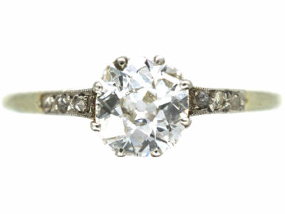 Edwardian Diamond Solitaire Ring with Diamond Set Shoulders