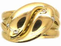 Edwardian 18ct Gold Double Snake Ring with Rose Diamond Eyes