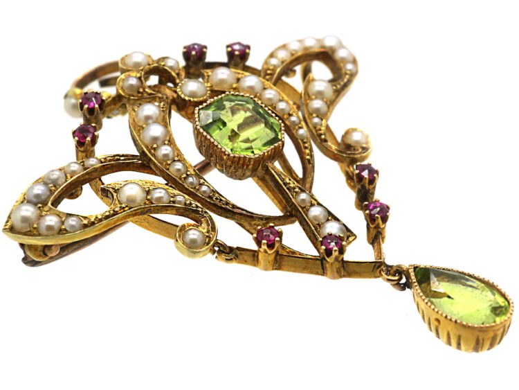 15ct Gold Suffragette Pendant set with Natural Split Pearls, Peridot & Rubies