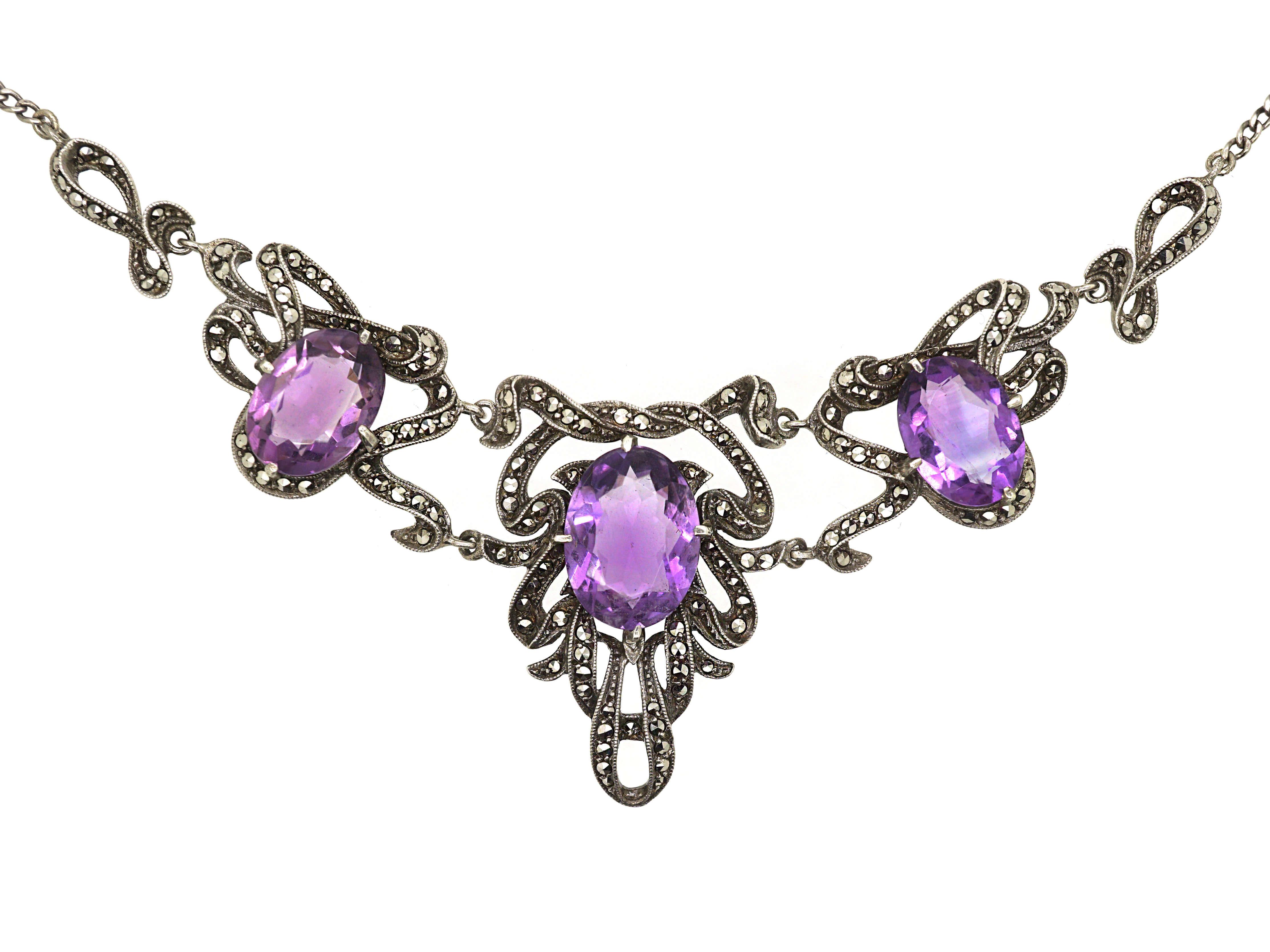 Art Deco Silver, Amethyst & Marcasite Ribbon Design Necklace