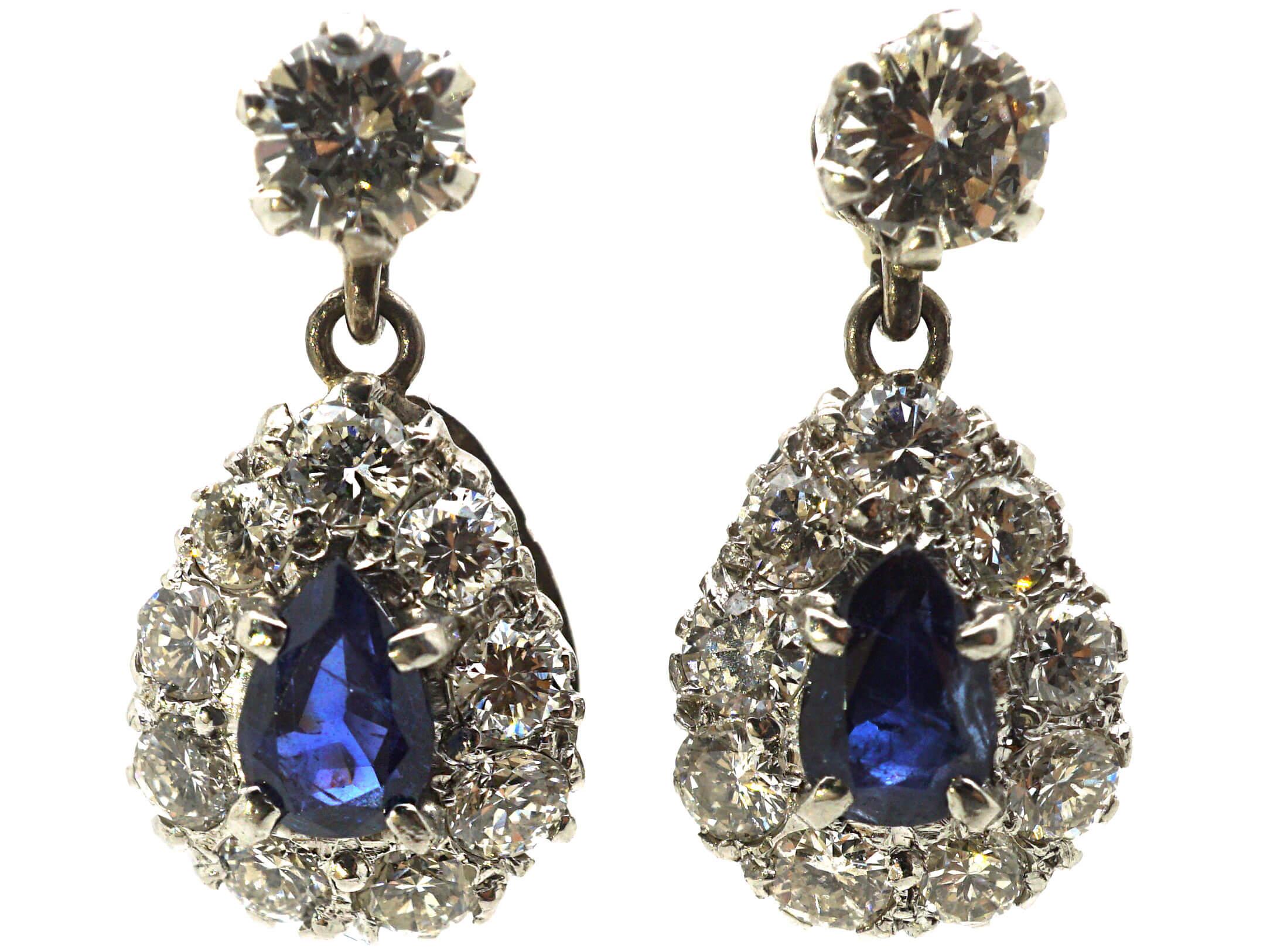 Edwardian 18ct White Gold Sapphire & Diamond Pear Shaped Drop Earrings